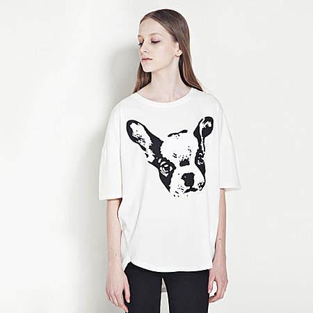 大耳朵狗印花短袖T恤 宽松上衣
