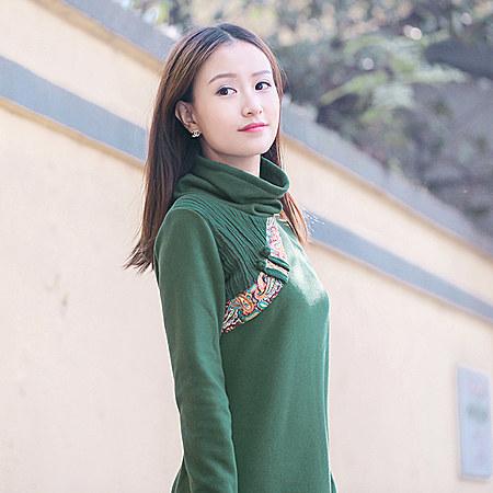 民族风连衣裙 文艺范冬季中国风