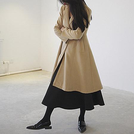 法式完美立体裁剪优雅长款羊毛外套
