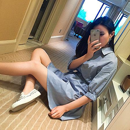 韩版竖条纹 清新简约设计款衬衫连衣裙QZ776