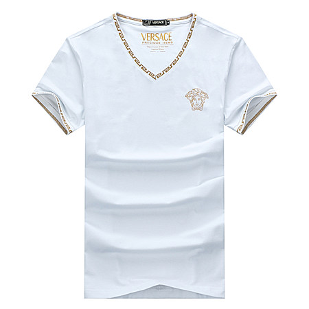 品牌男士丝光棉纯色V领短袖t恤大码大号