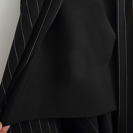 超显瘦高腰竖条纹开襟开叉蓬蓬A字半身裙