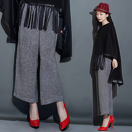 新款欧美显瘦高腰九分阔腿抽绳裤时尚休闲长裤女