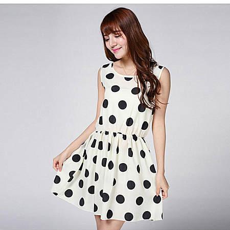女装时尚甜美连衣裙雪纺波点套头无袖中长裙