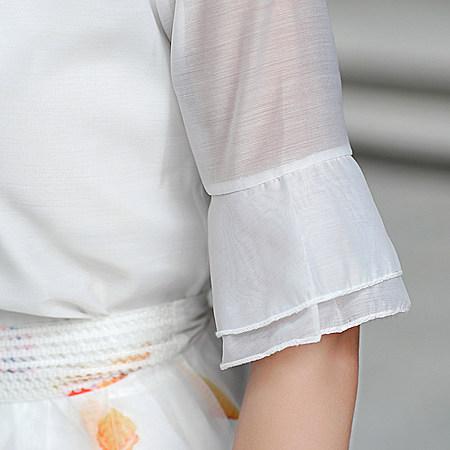 高档女装圆领短裙气质修身欧根纱连衣裙两件套