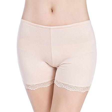 女莫代尔平角裤 蕾丝边三分安全裤 无痕四角裤