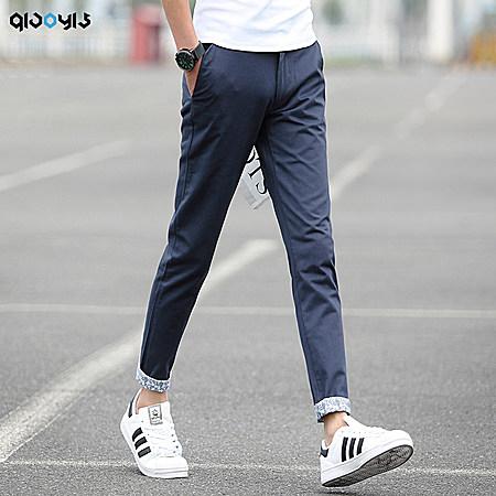 九分裤 男士夏季休闲裤中裤花边9分裤男装