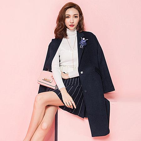 纯色西装领毛呢大衣