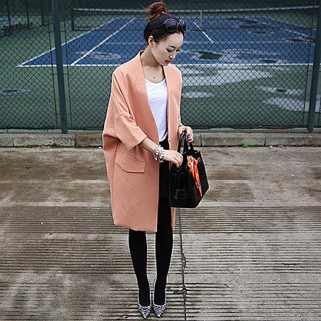 韩国东大门茧型宽松长款廓形风衣