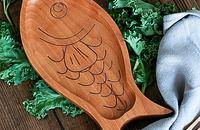日式榉木鱼型饭盒