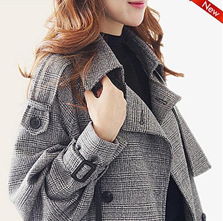英伦显瘦修身女装中长款毛呢大衣冬装长袖外套