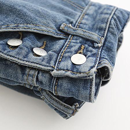 破洞做旧直筒牛仔背带裤