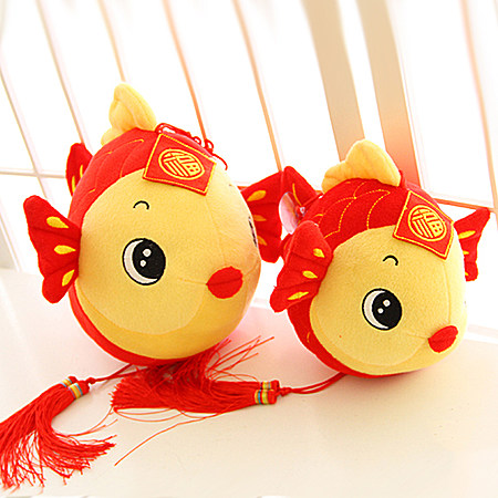 年年有余创意小鱼公仔挂件中国结挂件毛绒玩具