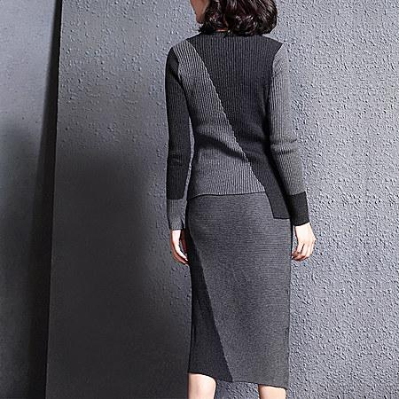 不对称撞色拼接针织套装裙