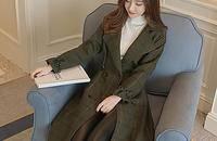 韩版女装格子收腰长款毛呢大衣外套