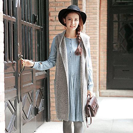 复古风格的针织毛线马甲