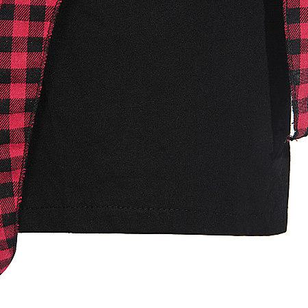 背心格子衫系袖假两件短裙套装
