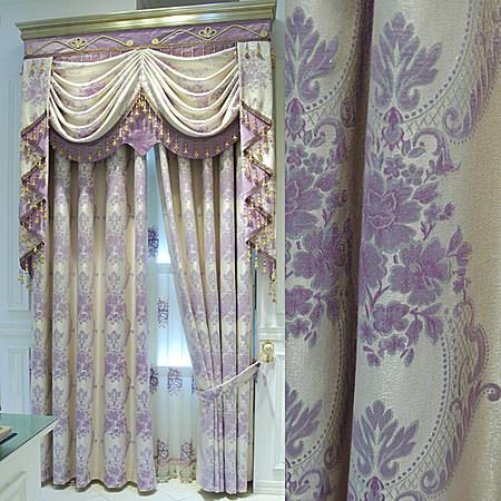 尚名格欧式窗帘高档客厅绣花窗纱