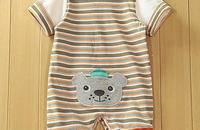 婴儿连体衣 短袖平角哈衣 纯棉爬服 条纹男宝宝