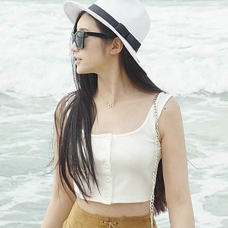 ZQ子晴休闲修身显瘦纯色纽扣无袖背心女短装上衣