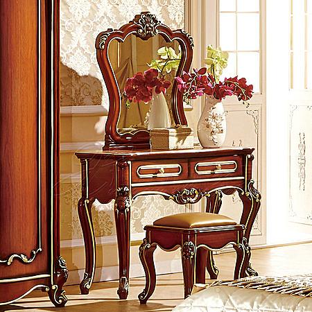 欧式实木家具双人床衣柜梳妆台床头柜成套组合