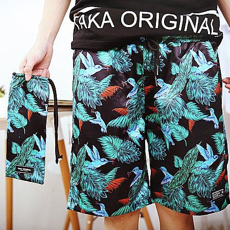 植物印花休闲短裤