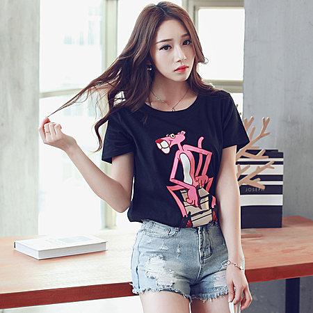 韩版2017夏装新品顽皮豹字母印花短袖纯棉T恤女