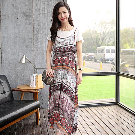 波西米亚长裙度假假两件长裙印花连衣裙