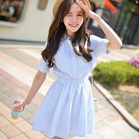 韩国代购2017夏季新款女装纯棉麻短袖衬衫裙