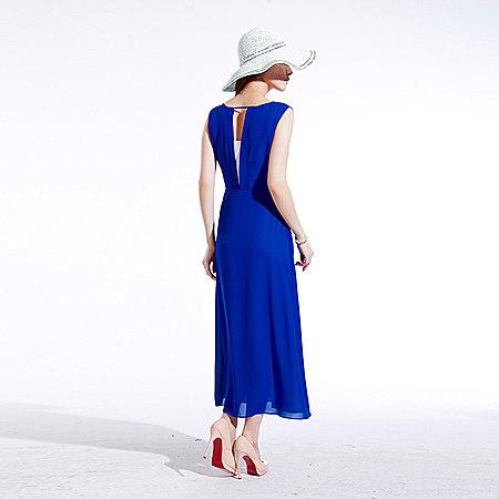 新款气质韩系修身女装波雪纺连衣裙波西米亚长裙