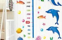 可移除卧室儿童房儿童海豚身高贴画