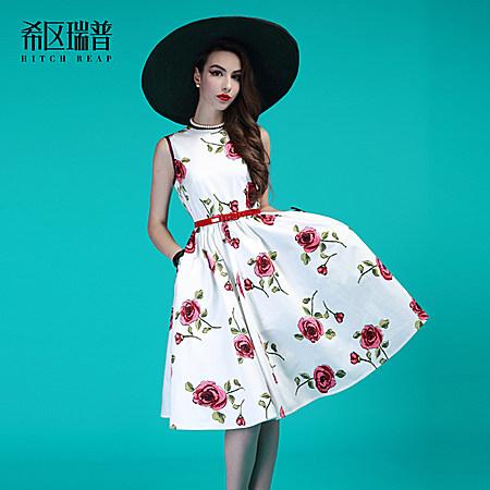 希区瑞普欧美高端大牌纯棉 玫瑰印花复古连衣裙