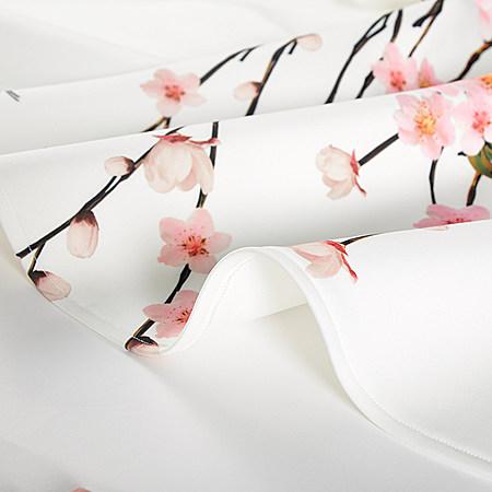 卡雷尔印花连衣裙夏季女装桃花七分袖连衣裙子