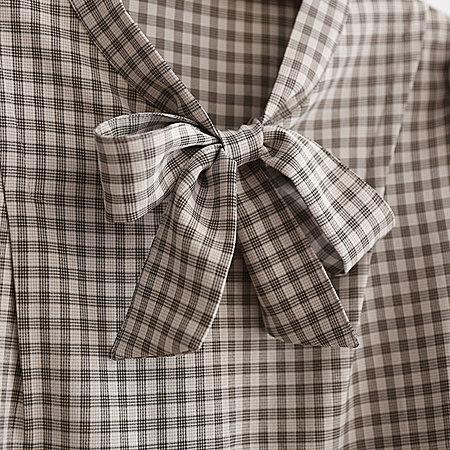 复古短款喇叭袖雪纺衫