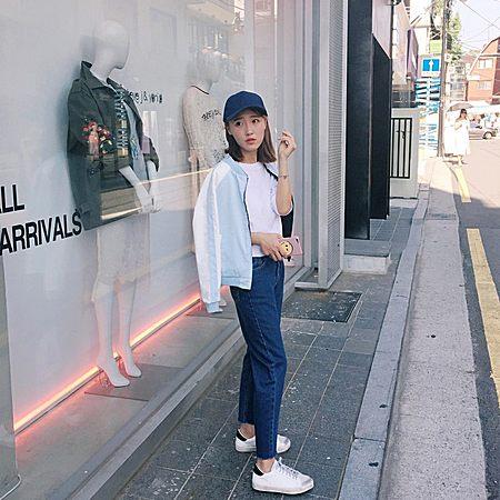 韩版宽松直筒高腰长裤