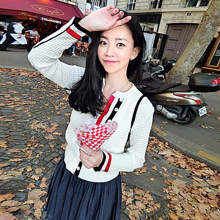 立体浮雕花纹三色织带学院长袖外套修身针织开衫