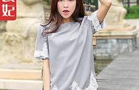 韩版蕾丝拼接短袖衬衫女圆领蕾丝衫上衣打底衫