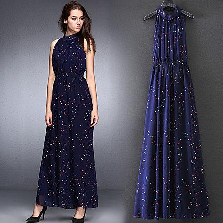 明星同款波点雪纺连衣裙夏修身显瘦仙女气质长裙