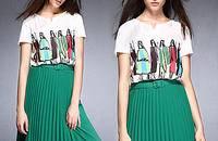 時尚針織印花短袖T恤休閑修身顯瘦女上衣打底衫