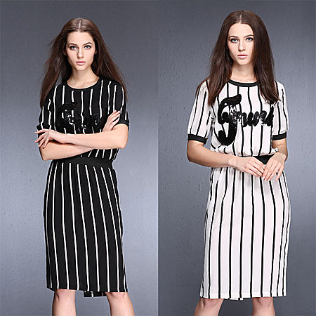 时尚黑白竖条纹连衣裙夏休闲修身显瘦一步裙