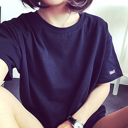 春夏新款 宽松显瘦刺绣字母上衣服女士短袖T恤