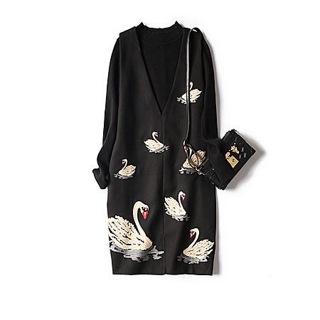 刺绣天鹅背心裙