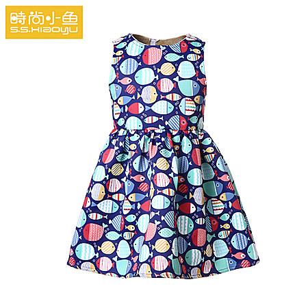 时尚小鱼童装儿童连衣裙秋装女童背心裙