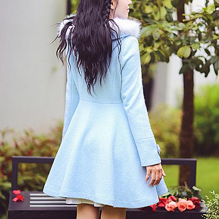 蝴蝶结修身连帽毛呢外套女中长款呢子大衣