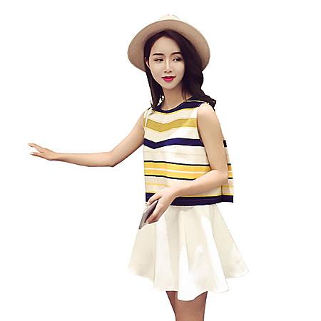时尚套装女裙条纹雪纺高腰裙子