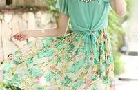 新款波西米亚长裙甜美沙滩碎花雪纺连衣裙