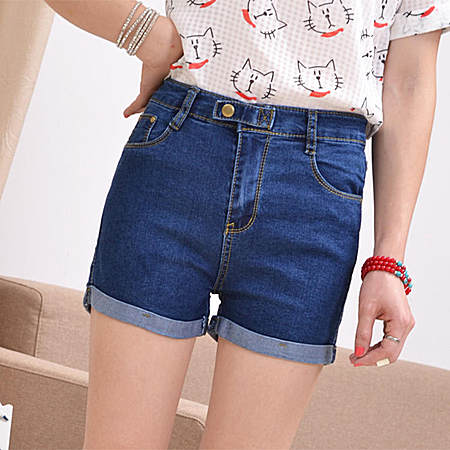 牛仔短裤 女装韩版修身卷边休闲牛仔裤热裤子