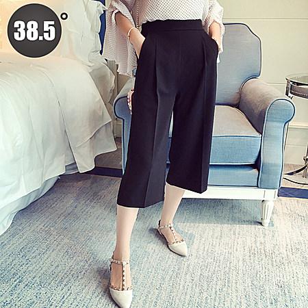 女九分裤韩国高腰女裤夏宽腿七分裤大脚高腰女裤