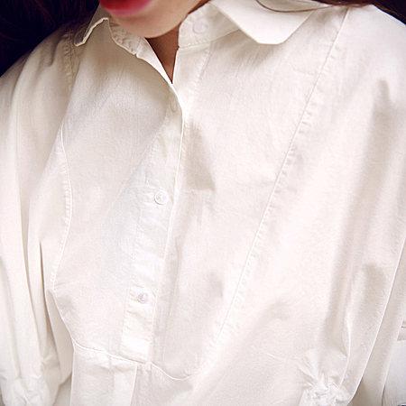 宽松收腰蝙蝠袖翻领衬衫裙