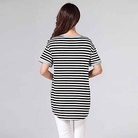 特大码大码短袖条纹T恤女宽松加肥加大200斤